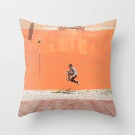Orange jump Throw Pillow