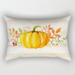 Pumpkin in Watercolor with Striped Background Rectangular Pillow