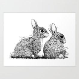 Leaf Rabbits Art Print