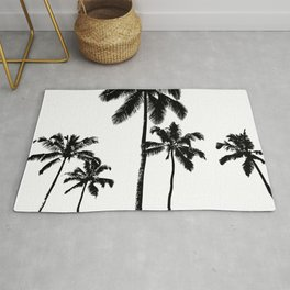 Monochrome tropical palms Rug