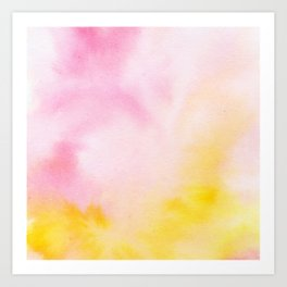 Yellow blush pink watercolor abstract brushstrokes pattern Art Print