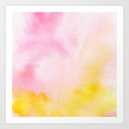 Yellow blush pink watercolor abstract brushstrokes pattern Art Print