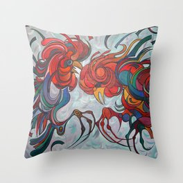 Farmyard Roosters Throw Pillow