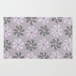 Floral design Black, Gray & Light Fuchsia Flowers Allover Print Rug