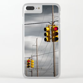 Waiting for the Traffic Light watching Gray Clouds flow by Clear iPhone Case