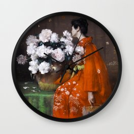 The Spring Flower by William Merritt Chase - Vintage Victorian Retro Fine Art Oil Painting Wall Clock