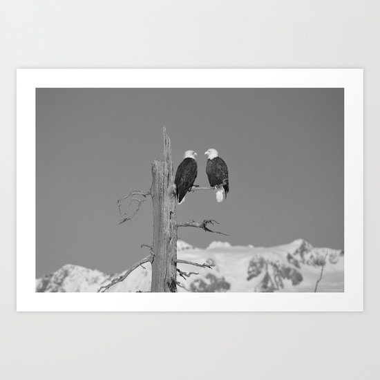 Perched With A View Duo - B & W Art Print