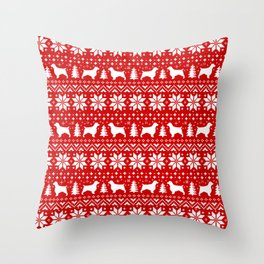 Welsh Springer Spaniel Silhouettes Christmas Sweater Pattern Throw Pillow