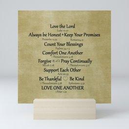 Christian Faith Family Rules w/Scripture Reference Mini Art Print