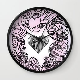 Love doodle . pink Wall Clock