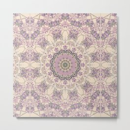 47 Wisteria Circle - Vintage Cream and Lavender Purple Mandala Metal Print