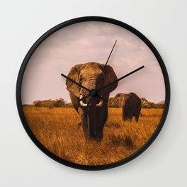 Elephant Safari (Color) Wall Clock