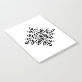 #8 Geometric Abstract Floral Ornament - Black And White Notebook