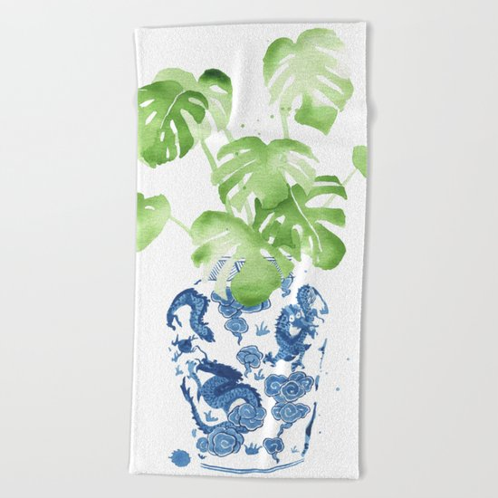 Ginger Jar + Monstera Beach Towel
