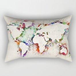 Map of the World Paint Splashes Rectangular Pillow