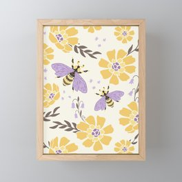 Honey Bees and Flowers - Yellow and Lavender Purple Framed Mini Art Print