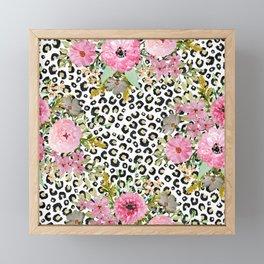 Elegant leopard print and floral design Framed Mini Art Print