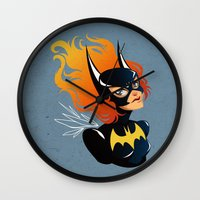 batgirl Wall Clocks featuring Batgirl by Станислава Коробкова