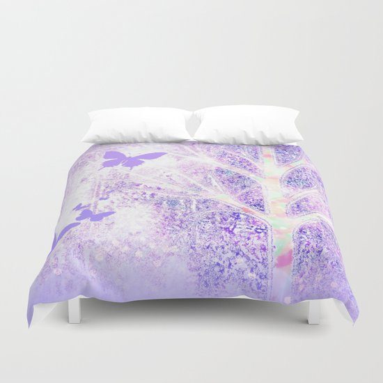 Lila white spring dream with butterflies Duvet Cover