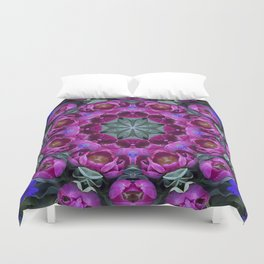 Floral finery - kaleidoscope of blue, plum, rose and green 1650 Duvet Cover