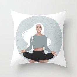 Yoga girl blue I Throw Pillow
