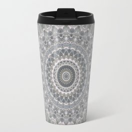 Mandala in white, grey and silver tones Travel Mug