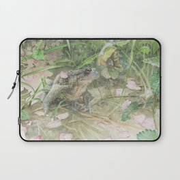 Toad with Cherry Blossom Petals Laptop Sleeve