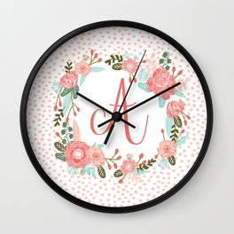 Monogram A - cute girls coral florals flower wreath, coral florals, baby girl, baby blanket Wall Clock