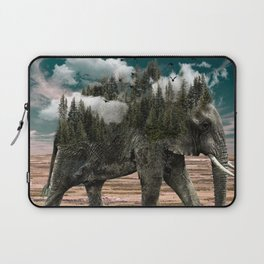 Surrealist elephant on a dry African landscape photo Laptop Sleeve