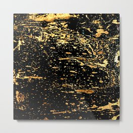 Black and a Gold Crow Metal Print