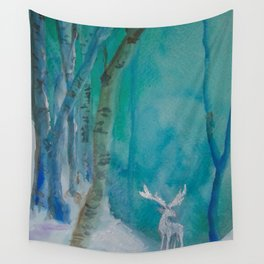 White Stag of the Winter Solstic Wall Tapestry
