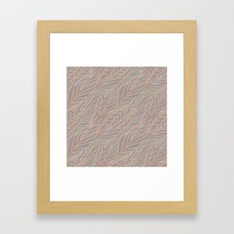 Woven Pink and Green Leaves on Grey Back Framed Art Print
