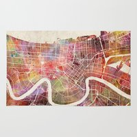 new orleans Area & Throw Rugs featuring New Orleans map by Map Map Maps