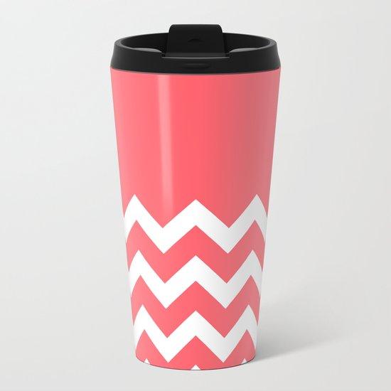 Coral Red Chevron Colorblock Metal Travel Mug