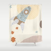 spaceship Shower Curtains featuring spaceship collage by flying bathtub