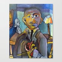 obama Canvas Prints featuring Obama by Bodie Shaw