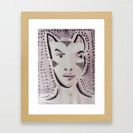 Cat Woman Superhero Cartoon Face Framed Art Print