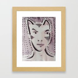 Cat Woman Superhero Cartoon Face Framed Art Print