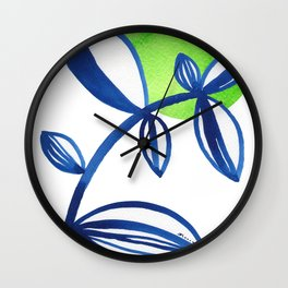 Blue and lime green minimalist leaves Wall Clock