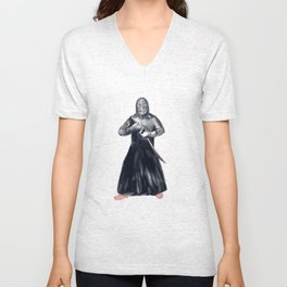 Kendoka Kendo Swordsman Watercolor Unisex V-Neck