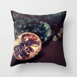 Still life with grapes and pommegranate Throw Pillow