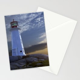 Sunset at Peggys Cove Lighthouse in Nova Scotia Stationery Cards