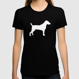 Jack Russell Terrier gray and white minimal dog pattern dog silhouette T-shirt
