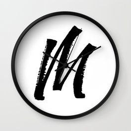 Letter M Ink Monogram Wall Clock