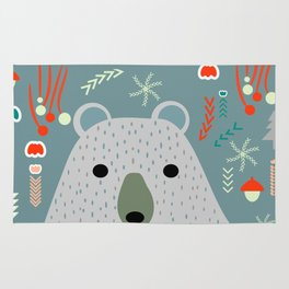 Winter pattern with baby bear Rug