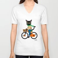 cycling V-neck T-shirts featuring Whim's cycling by BATKEI
