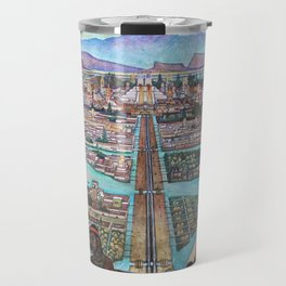 Mural of the Aztec city of Tenochtitlan by Diego Rivera Travel Mug