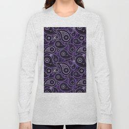 Indigo Purple Paisley Pattern Long Sleeve T-shirt
