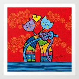 Lovers Cats Art Print