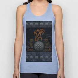 Awesome tribal dragon made of metal Unisex Tank Top